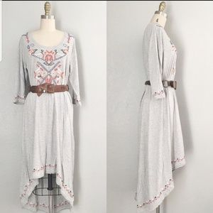 Soft surroundings size M embroidery hi low dress